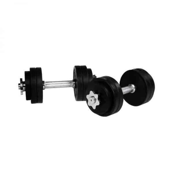 Black Rubber Dumbbell Vektsett – 30 kg