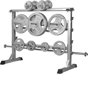 Vektskive og Dumbbell Rack – Silver