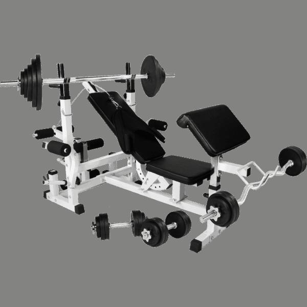 Universal Treningsbenk inkl. Rubber Vektsett - 108 kg