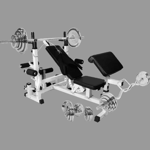 Universal Treningsbenk inkl. Chrome Komplett Vektsett - 108 kg