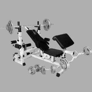 Universal Treningsbenk inkl. Tri Grip Komplett Vektsett - 108 kg