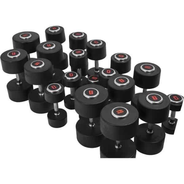 Profesjonelle dumbbells med gummibeskyttelse