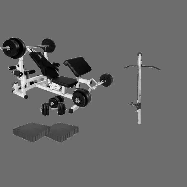 Treningsstasjon Basic - Treningsbenk ink. 100 kg Vektsett, Lat-Stasjon, EVA matter